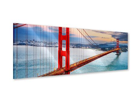Stampa su acrilico Panoramica Il Golden Gate Bridge al tramonto