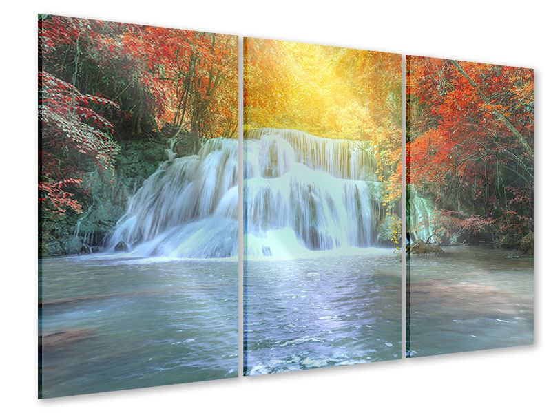 3 Piece Acrylic Print Waterfall In Light