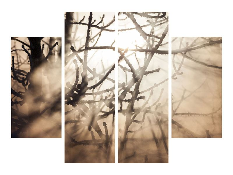 4 Piece Acrylic Print Branches In Fog Light