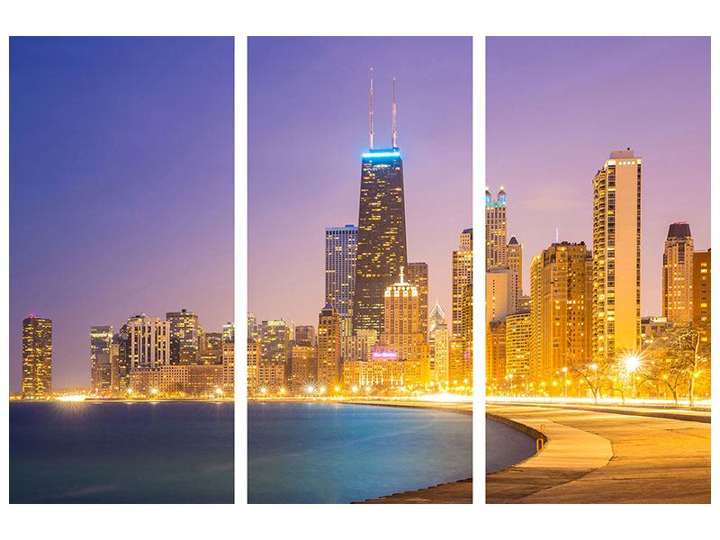 3 Piece Aluminium Print Skyline Chicago At Night