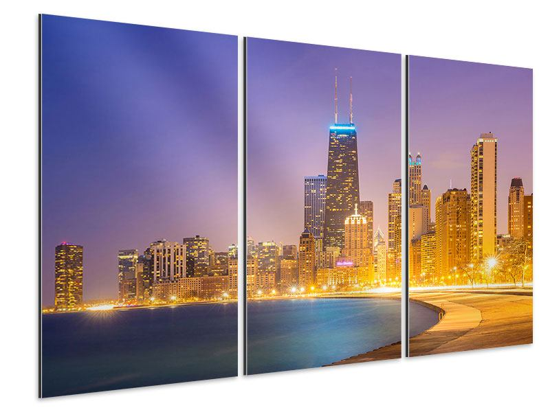 Tableau Aluminium en 3 parties Horizon à Chicago la nuit