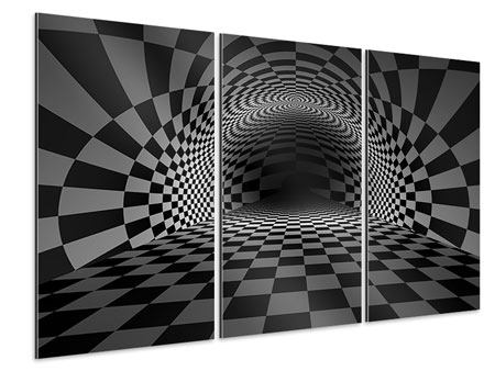 3 Piece Aluminium Print Abstract Chessboard