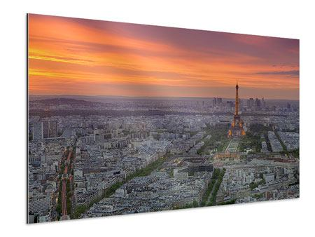 Aluminium Print Paris Skyline At Sunset