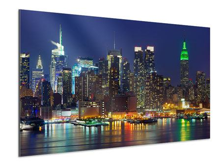 Aluminium Print Skyline New York Midtown At Night