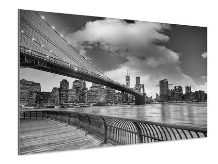 Aluminium Print Skyline Black And White Photography Brooklyn Bridge NY