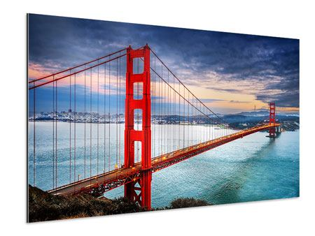Aluminium Print The Golden Gate Bridge At Sunset