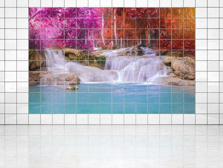 Tile Print Paradisiacal Waterfall