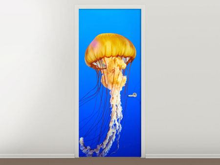 Door Mural Yellow Jellyfish