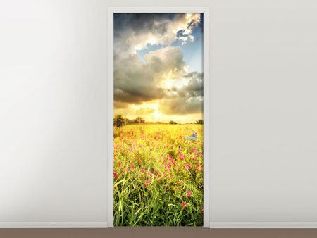 Door Mural Flowers Landscape