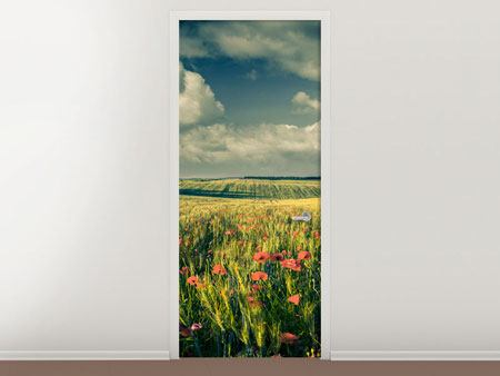 Door Mural The Poppy In Wheat Field