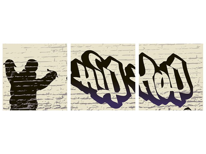 Panoramic 3 Piece Forex Print Graffiti Hip Hop