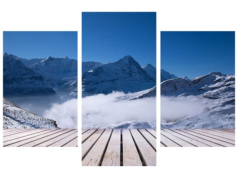 Modern 3 Piece Forex Print Sun Terrace In The Swiss Alps