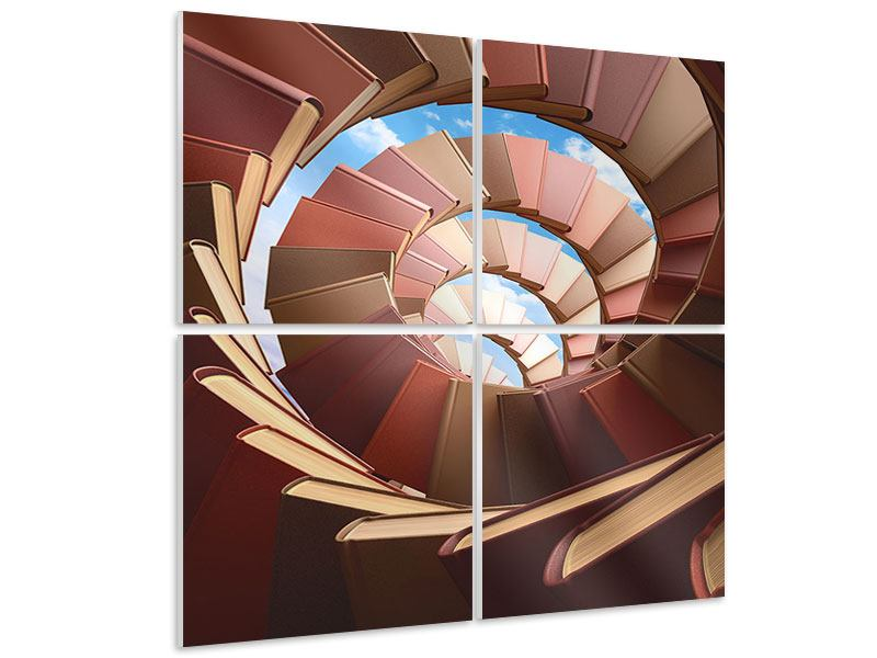4 Piece Forex Print Abstract Books Spiral Staircase