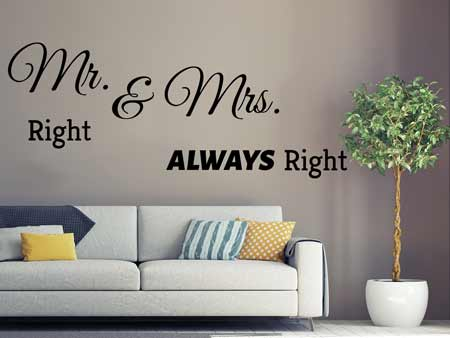 Wall Sticker Mr. Right & Mrs. Allways Right