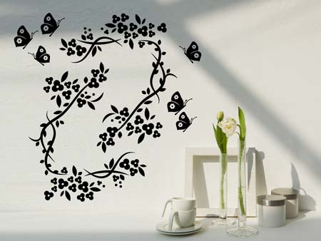 Wall Sticker Butterflies with flower tendrils