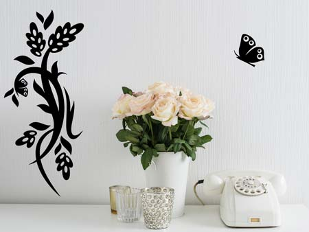 Wall Sticker butterfly plant