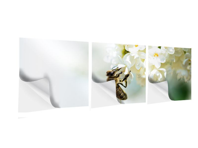 Panoramic 3 Piece Self-Adhesive Poster The Bumblebee And The Flower
