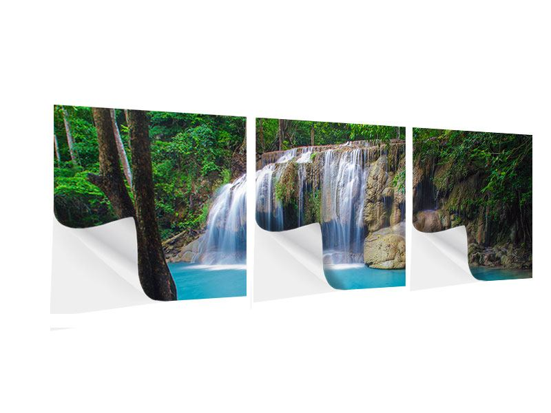 Panoramic 3 Piece Self-Adhesive Poster Nature Waterfall
