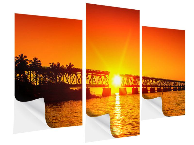 Modern 3 Piece Self-Adhesive Poster Sunset On The Bridge