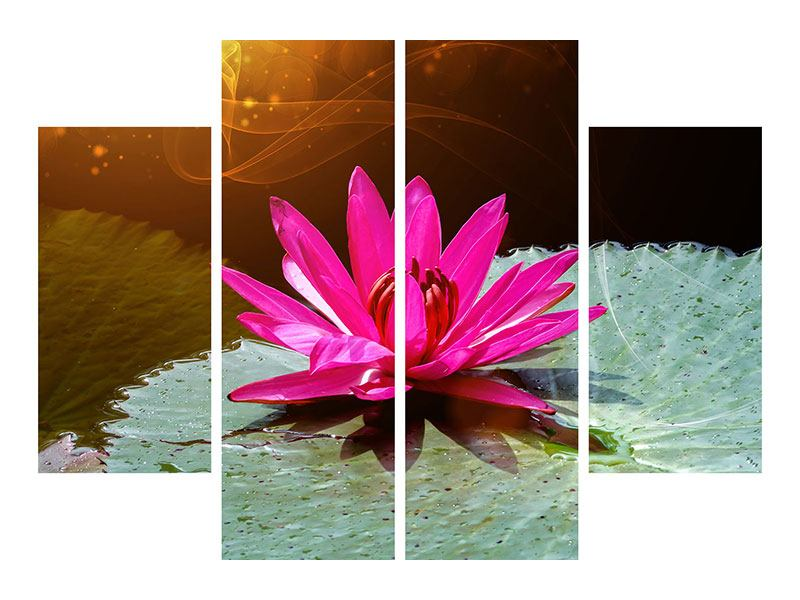 4 Piece Self-Adhesive Poster The Frog And The Lily Pad