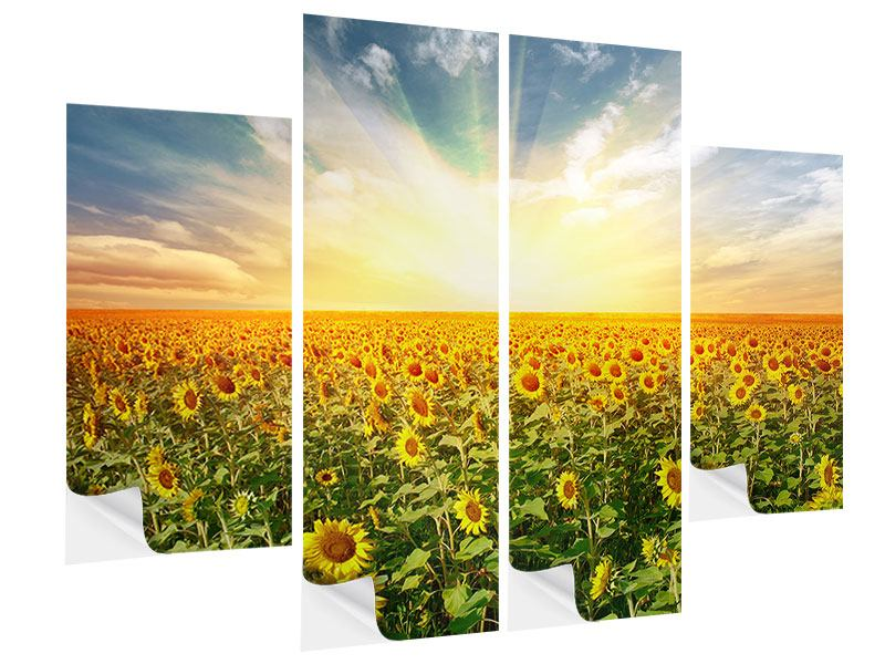 4 Piece Self-Adhesive Poster A Field Full Of Sunflowers