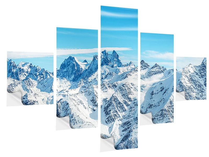 5 Piece Self-Adhesive Poster Alpine Panorama