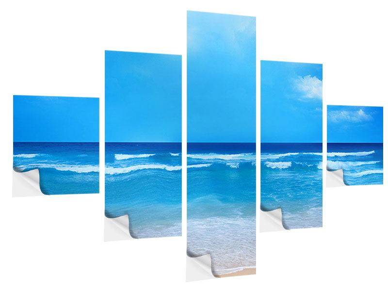 5 Piece Self-Adhesive Poster Gentle Beach Waves