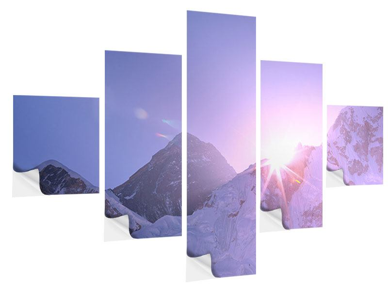 5 Piece Self-Adhesive Poster Sunrise At Mount Everest