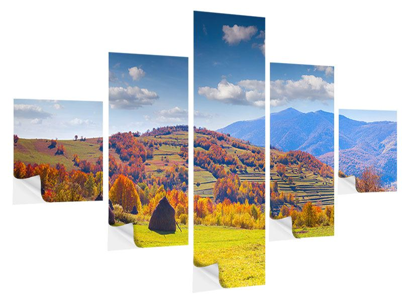 5 Piece Self-Adhesive Poster Autumnal Mountain Landscape
