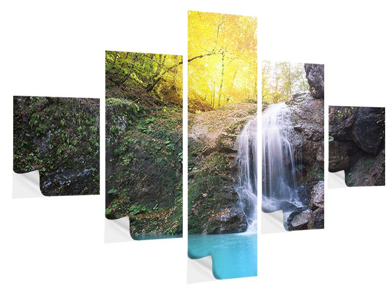 5 Piece Self-Adhesive Poster Flowing Waterfall