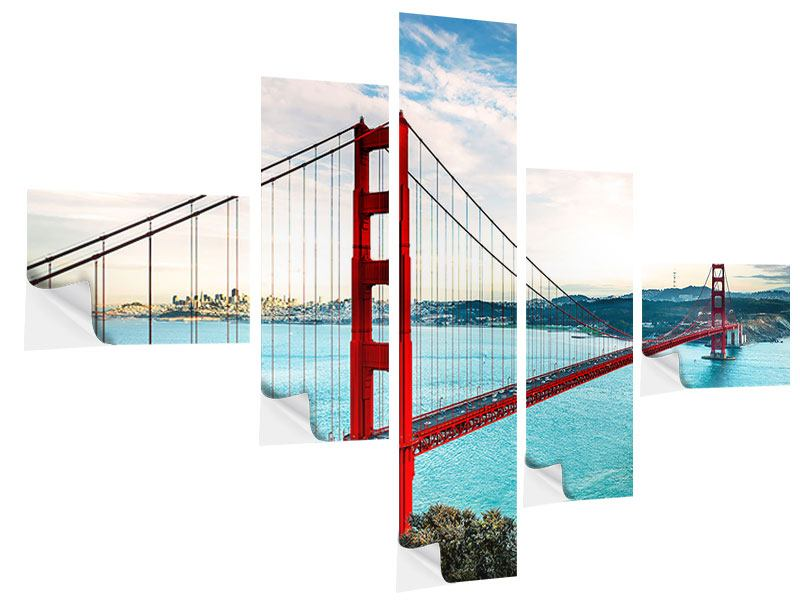 Posters adhesif en 5 parties moderne Golden Gate Bridge