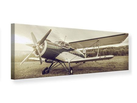 Panoramic Canvas Print Nostalgic Aircraft In Retro Style