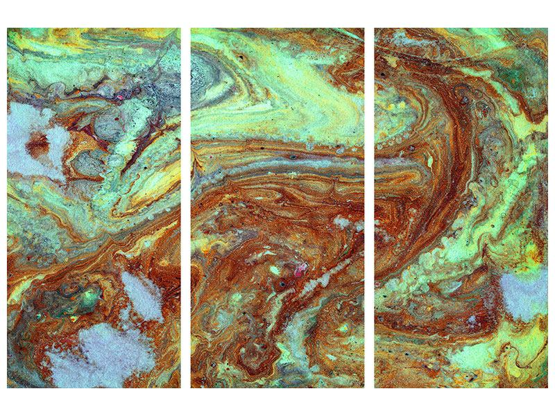 3 Piece Canvas Print Marble In Green