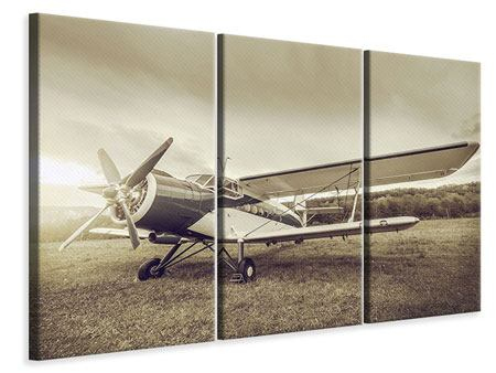 3 Piece Canvas Print Nostalgic Aircraft In Retro Style