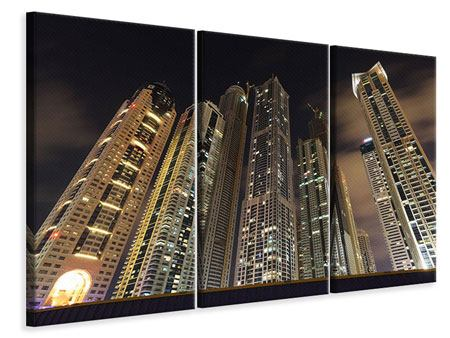 3 Piece Canvas Print Skyscrapers Dubai Marina