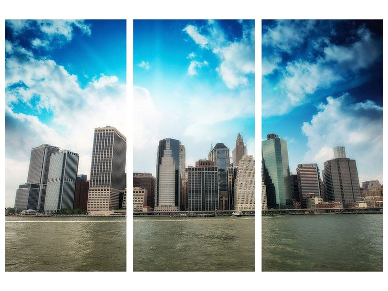 Stampa su tela 3 pezzi Skyline di Lower Manhattan