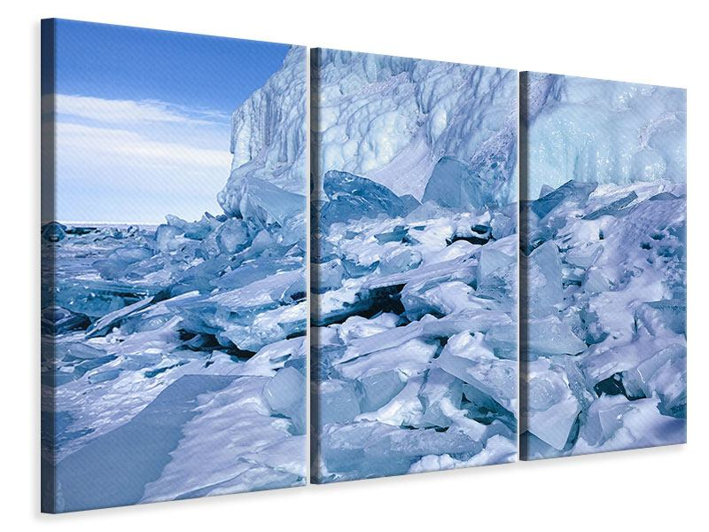 3 Piece Canvas Print Ice Landscape Baikal