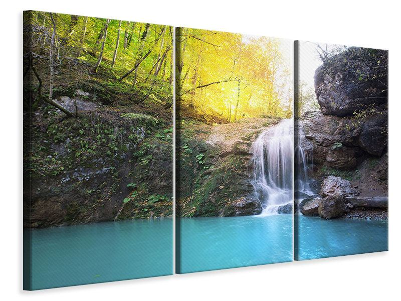 3 Piece Canvas Print Flowing Waterfall