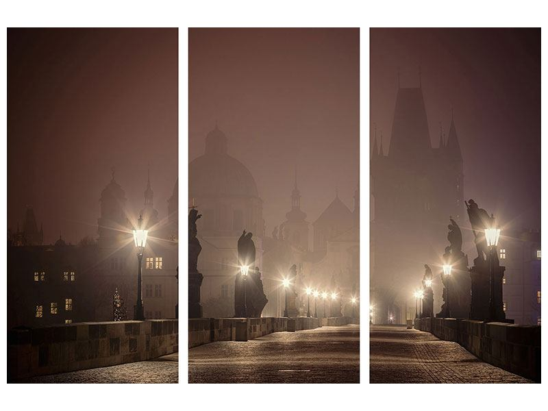 3 Piece Canvas Print Charles Bridge At Night