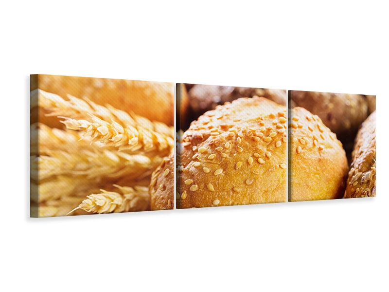 Panoramic 3 Piece Canvas Print Bread Roll