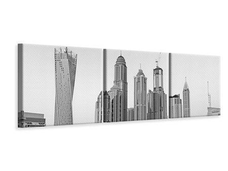 Panoramic 3 Piece Canvas Print Majestic Skyscrapers In Dubai