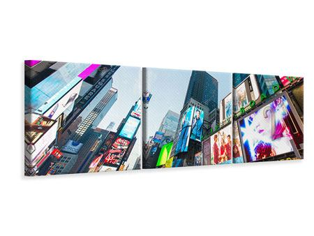 Panoramic 3 Piece Canvas Print Shopping In NYC