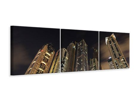 Panoramic 3 Piece Canvas Print Skyscrapers Dubai Marina