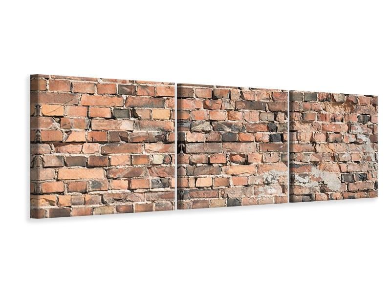 Panoramic 3 Piece Canvas Print Old Brick Wall