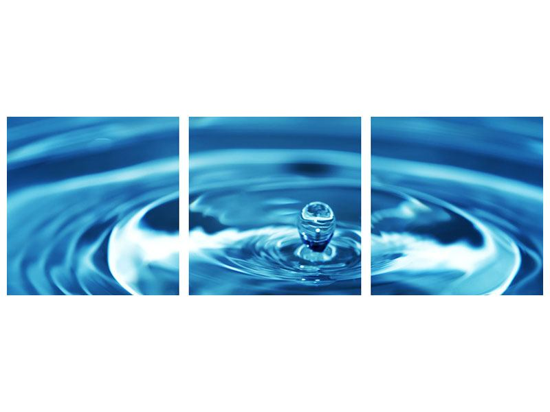 Panoramic 3 Piece Canvas Print The Water Drops
