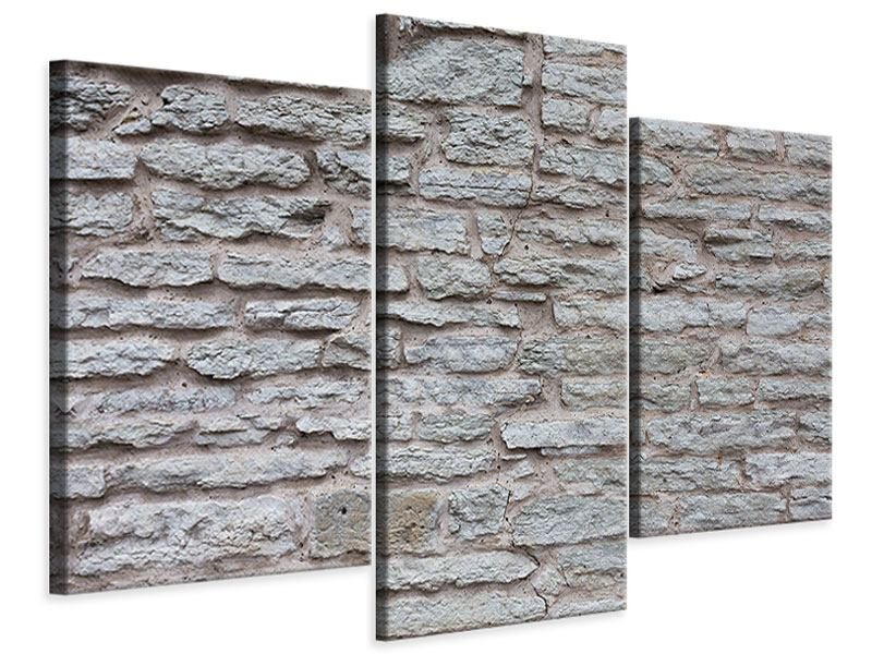 Modern 3 Piece Canvas Print Stone Wall