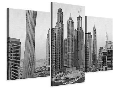 Modern 3 Piece Canvas Print Majestic Skyscrapers In Dubai