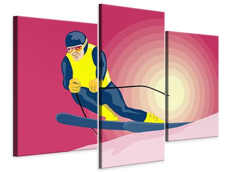 Modern 3 Piece Canvas Print Retro Skier