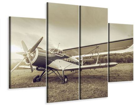 4 Piece Canvas Print Nostalgic Aircraft In Retro Style