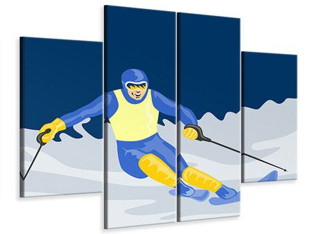4 Piece Canvas Print Skier In Retro Style